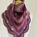 Crocheted Shawl burgundy purple shades Granny meets Virus pattern