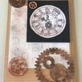 Tan cog and clock blank card