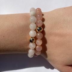 Natural rose quartz beaded bracelet