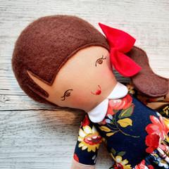 Rosie - Handmade rag doll, ready to ship.