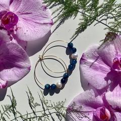 Teal Kyanite and Freshwater Pearl hoop earrings