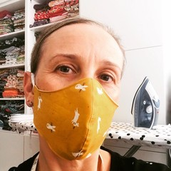 Cotton Face Mask ~ Mustard Bunny ~ 3 layers