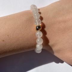 Natural White Jade beaded bracelet
