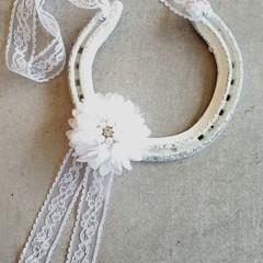 Upcycled, Authentic, Lucky Horseshoe. Shabby Chic, Ivory & Lace