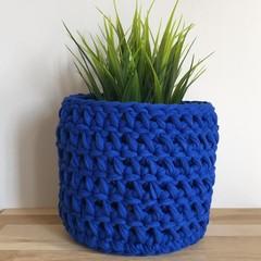 Crochet planter | indoor plant | indoor pot | Pot cover | COBALT BLUE