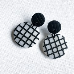 """Chex"" translucent clay disc with black grid - Double Drop Dangles"