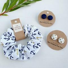 Scrunchie + Fabric Stud Earrings