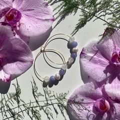 Purple Kyanite, white Jade and Freshwater Pearl hoop earrings