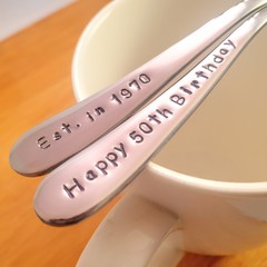 Custom Year,50th Birthday Gift,40th,Christmas,Teaspoon,Hand Stamped,