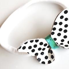 Polkadot Baby Headband Gold/ Turquoisie Butterfly