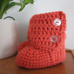 Salmon Crochet Little Boots