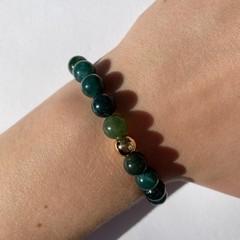 Natural moss agate beaded bracelet