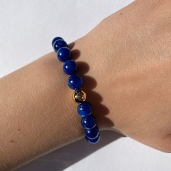 Natural blue kyanite beaded bracelet