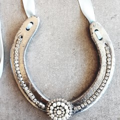 Upcycled, Authentic, Lucky Horseshoe. Diamante/ Pearl. Silver or White