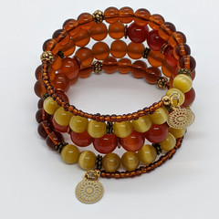 Shades of golden brown memory wire bracelet