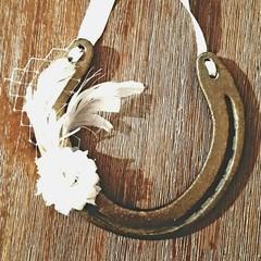 Upcycled, Authentic, Lucky Horseshoe. Bronze with Ivory Embellishment