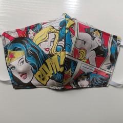 Wonder Woman reusable fabric face mask  3 ply