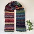 Hand knitted rainbow scarf