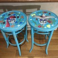 His and hers Fun Rustic Day of the Dead Bar Stools