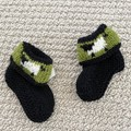 Black sheep  booties - Hand knitted in Pure Wool