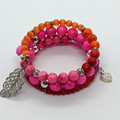 Shades of pink memory wire bracelet
