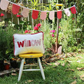 Red Floral Cushion & Bunting Gift Set