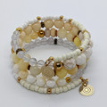 Shades of cream memory wire bracelet