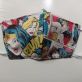 Wonder Woman reusable fabric face mask  3 ply