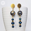 Gold and Dark Blue Floral Earrings