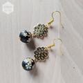 Matte Black Gold Sakura Floral Earrings
