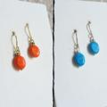 Modern boho mini oval stone silver wire short drop earrings , Orange Aqua Blue