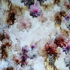 Floral and Animal Print Abstract knit fabric, stretch jersey, price per metre