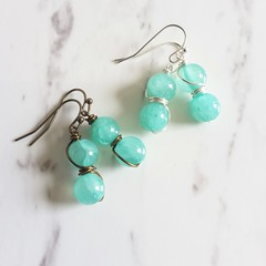 Minimal Boho style Pale blue green round stone wire wrapped drop earrings