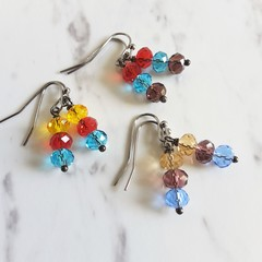 Vintage style Glass Crystal bead drop earrings , Beige Yellow Red Blue Purple