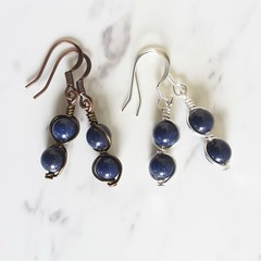 Modern boho style midnight blue small round stone wire wrapped dangle earrings