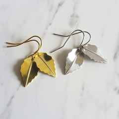 Simple Modern Minimal single small leaf metal charm drop earrings , Silver Gold