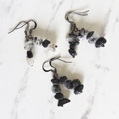Simple Gothic Art deco Natural Black Rutilated Quartz drop earrings , No2