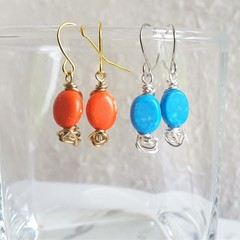 Colourful small Bright oval stone wire ball short drop earrings , Orange Blue