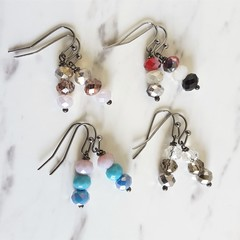 Modern Glass Crystal bead drop earrings , Red Cream Silver Black Clear Blue Gray
