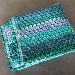 Hand Crotchet Blanket / Baby Blanket / Knee Blanket / Small Throw