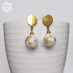Pastel Gold Sakura in White Earrings