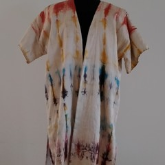 Multi Colour Shibori Silk Quilted Jacket ,