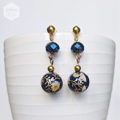 Gold and Navy Blue Daffodils Earrings