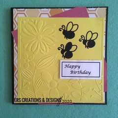 Bee Theme Happy Birthday Female Card