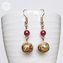 Red and Gold Floral with Leaves Earrings