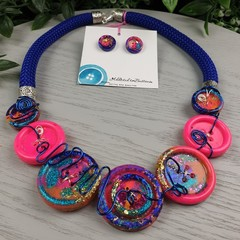 Hot Pink Sunset - Glitter - Button Fusion Necklace - Button Jewellery - Earrings