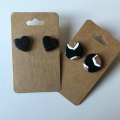 Black and gold leopard and black hearts stud pack - Polymer clay earrings