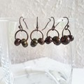 Unique Tribal style Natural wood colour big seed beaded hoop dangle earrings