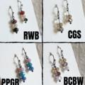 Modern Glass Crystal bead drop earrings , Red Cream Silver Black Clear Blue Gray