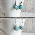 Simple single marble turquoise blue round stone wire short dangle earrings